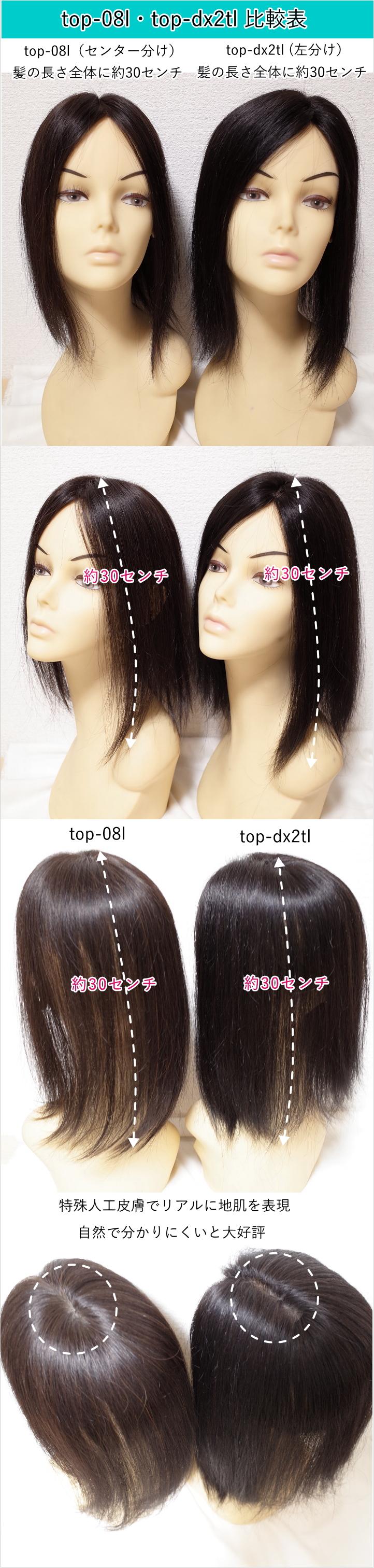 人毛部分ウィッグロングtop-08l・top-dx2tl比較表1