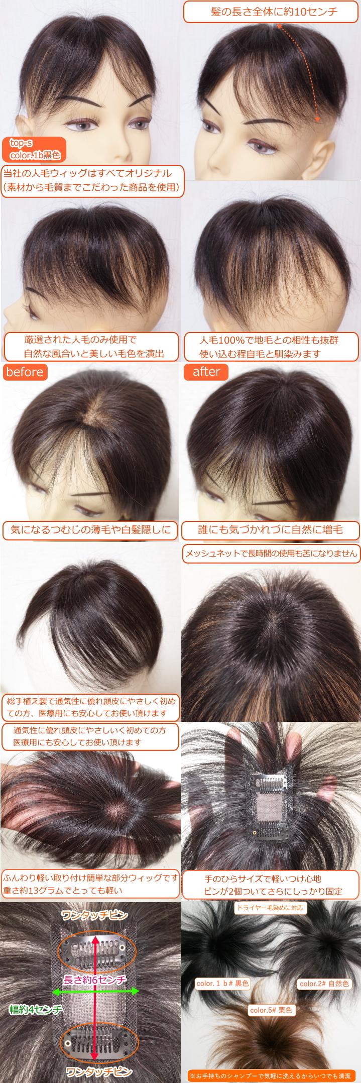 女性用人毛部分ウィッグSサイズtop-s詳細画像